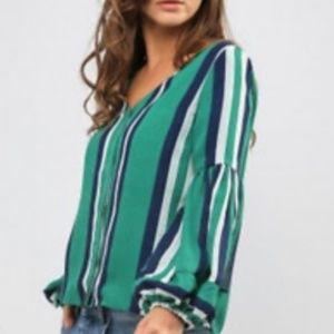 JOA Striped Long Sleeve Top